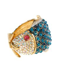 Betsey Johnson | Metallic Gold Tone Crystal Blue Fish Hinge Bangle Bracelet | Lyst