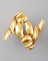 Oscar de la Renta - Metallic Gold Leaf Bracelet - Lyst