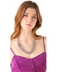 Juicy Couture - Metallic Pave Link Necklace - Lyst