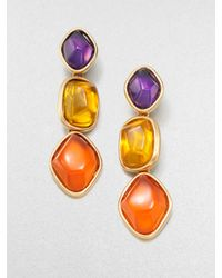 Oscar de la Renta | Metallic Stone Accented Graduated Drop Clipon Earrings | Lyst