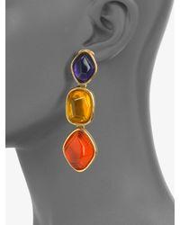 Oscar de la Renta   Metallic Stone Accented Graduated Drop Clipon Earrings   Lyst