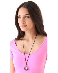 Juicy Couture - Black Stone Pendant Necklace - Lyst