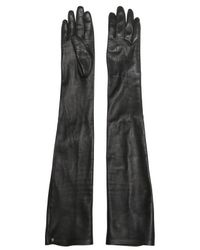 Lanvin | Black Nappa Leather Long Gloves | Lyst