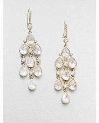 ABS By Allen Schwartz - Metallic Teardrop Stone Chandelier Earrings - Lyst