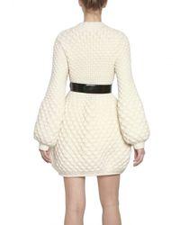Alexander McQueen | Beige Honeycomb Wool Knit Coat | Lyst