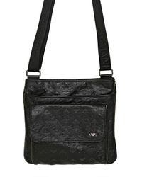 9ef68fecbf3 Lyst - Armani Jeans All Over Logo Eco Leather Bag in Black for Men