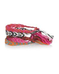 Chan Luu - Pink Set Of Five Braided Cotton Friendship Bracelets - Lyst