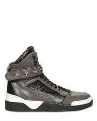 Givenchy - Gray Stars Leather High Top Sneakers for Men - Lyst