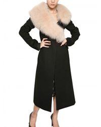 Nina Ricci   Black Wolf Collar On Double Face Wool Coat   Lyst