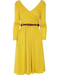 Tibi | Black Wool Jersey Wrap Dress | Lyst