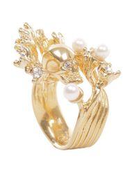 Alexander McQueen - Metallic Gold Pearl Wave Skull Ring - Lyst