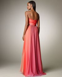 Monique Lhuillier - Pink Ombre Ruched Gown - Lyst