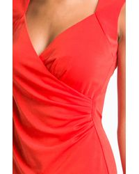 Nicole Miller | Red Surplice Ruched Jersey Sheath Dress | Lyst