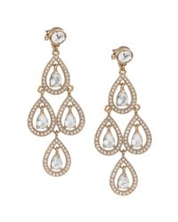 Carolee | Metallic Gold Tone Pave Pear Chandelier Earrings | Lyst
