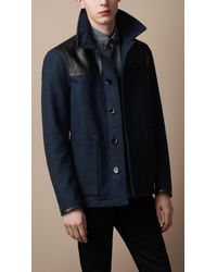 Burberry Brit | Blue Leather Detail Wool Blend Coat for Men | Lyst