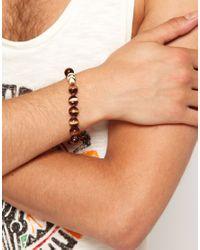 ASOS - Brown Asos Bead and Skull Bracelet for Men - Lyst
