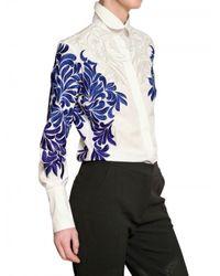 Stella McCartney - White Flower Silk Embroidery Cotton Shirt - Lyst