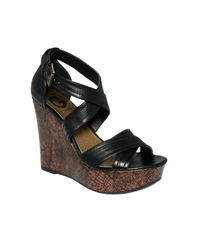 G by Guess | Black Lasino Platform Wedge Sandals | Lyst