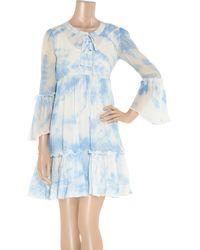 Leaves Of Grass - Blue Arabesque Tie-dye Silk-georgette Dress - Lyst