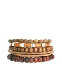 ASOS - Brown Pacific Bracelet Pack for Men - Lyst