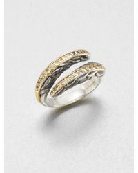 Elizabeth and James   Metallic Sapphire Accented 23k Gold Sterling Silver Wrap Ring   Lyst