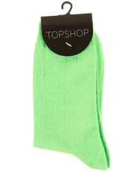 TOPSHOP - Green Lime Neon Ankle Socks - Lyst
