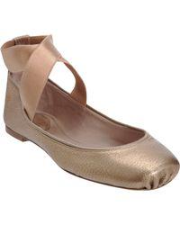 Chloé | Gold Square Toe Ballerina Flat | Lyst