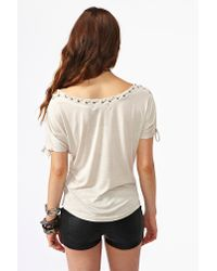 Nasty Gal - Natural Laced Up Top - Lyst