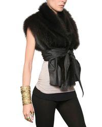 Rick Owens - Black Fisher Fur Vest with Leather Trim - Lyst