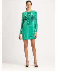 Tibi - Green Printed Eyelet Shift Dress - Lyst