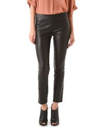 Vince | Black Cropped Stretch Leather Leggings | Lyst