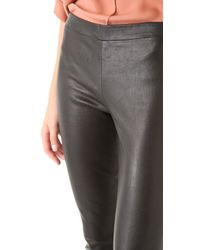 Vince - Black Cropped Stretch Leather Leggings - Lyst