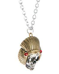 ASOS - Metallic Skull Necklace for Men - Lyst