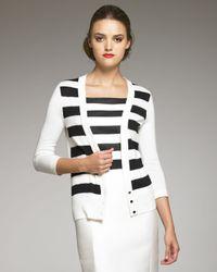 Carolina Herrera | Black Striped Cardigan | Lyst