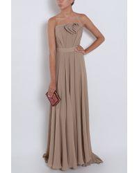 Elie Saab | Brown Strapless Bow Gown | Lyst