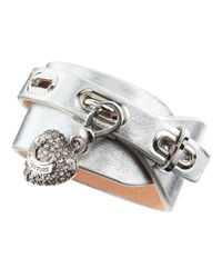 Juicy Couture - Metallic Leather Wrap Charm Bracelet - Lyst