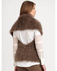 Brunello Cucinelli - Brown Faux Fur Cashmere Gilet - Lyst