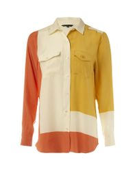 French Connection | Multicolor Bric-a-block Silk Shirt | Lyst