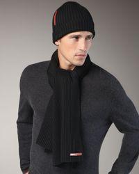 Prada | Knit Scarf, Black for Men | Lyst