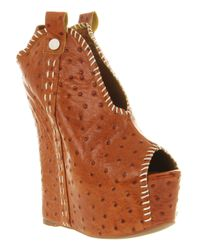 Jeffrey Campbell | Brown Kelsey Hi Tan Ostrich | Lyst