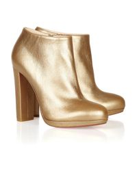 Christian Louboutin | Rock & Gold 120 Metallic Leather Ankle Boots | Lyst