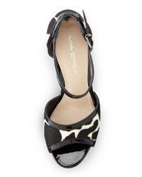 Via Spiga - Iris Printed Calf Hair Platform Sandal Blackwhite - Lyst
