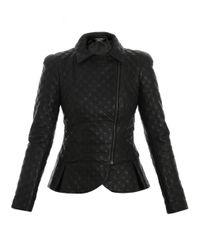 Alexander McQueen | Black Peplum Detail Biker Jacket | Lyst