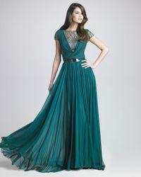 Elie Saab | Green Lattice Chiffon Gown | Lyst