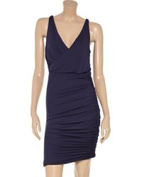 Halston Heritage | Blue Wrapeffect Ruched Jersey Dress | Lyst