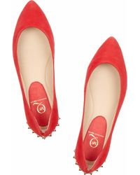 McQ - Red Suede Studded Ballet Flats - Lyst