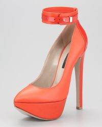 Ruthie Davis - Red Ankle Strap Platform Pump - Lyst