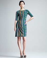 Etro | Green Printed Half Sleeve Jersey Dress | Lyst