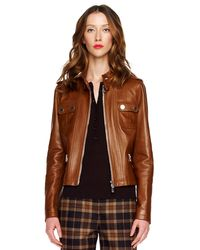 Michael Kors | Brown Leather Motorcycle Jacket | Lyst