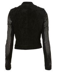 TOPSHOP   Black Suede Perforated Biker Jacket   Lyst